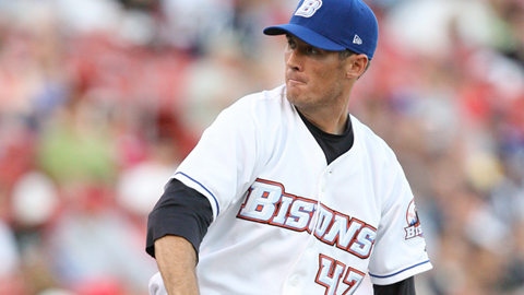 Adam Pettyjohn was one of four Bisons relievers to pitch scoreless baseball Friday.