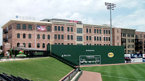 Fluor Field's berm adds a Minor League touch to a genuine mini-Fenway.